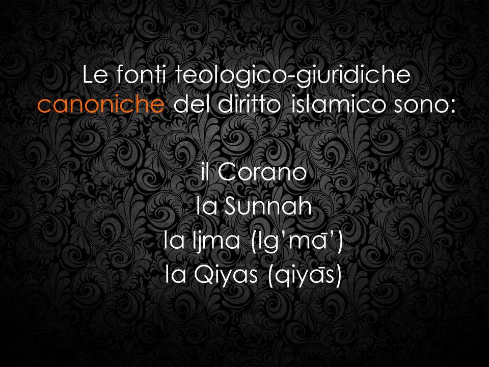 Le fonti teologico-giuridiche canoniche del diritto islamico sono: