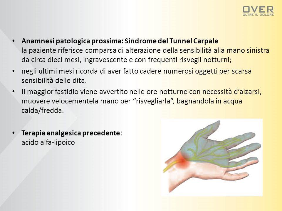Anamnesi patologica prossima: Sindrome del Tunnel Carpale la paziente riferisce comparsa di alterazione della sensibilità alla mano sinistra da circa dieci mesi, ingravescente e con frequenti risvegli notturni;