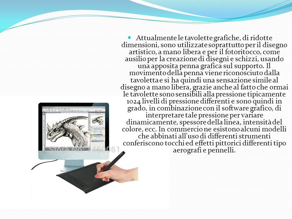 Attualmente le tavolette grafiche, di ridotte dimensioni, sono utilizzate soprattutto per il disegno artistico, a mano libera e per il fotoritocco, come ausilio per la creazione di disegni e schizzi, usando una apposita penna grafica sul supporto.