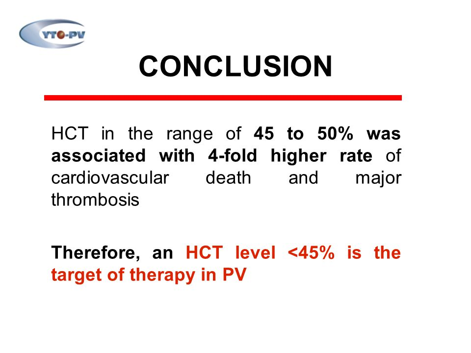 CONCLUSION HCT in the range of 45 to 50% was associated with 4-fold higher rate of cardiovascular death and major thrombosis.