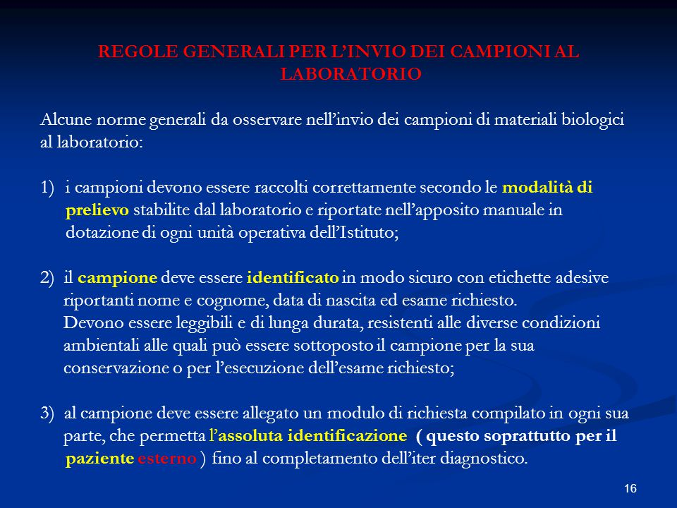 REGOLE GENERALI PER L'INVIO DEI CAMPIONI AL LABORATORIO