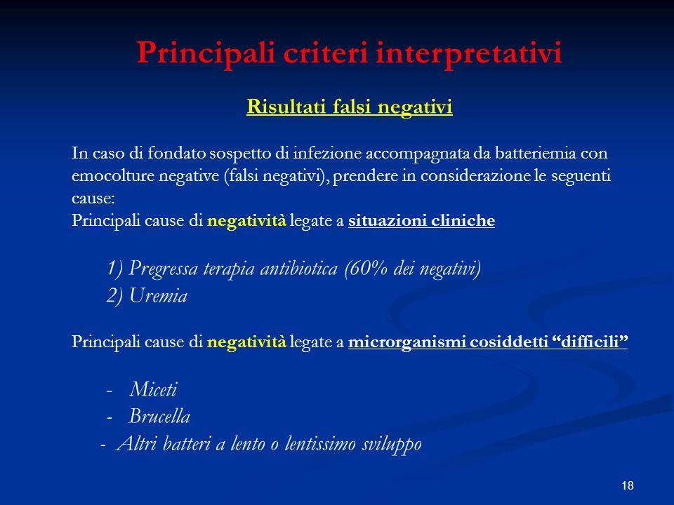 Principali criteri interpretativi Risultati falsi negativi