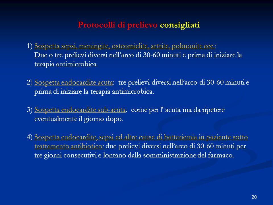 Protocolli di prelievo consigliati