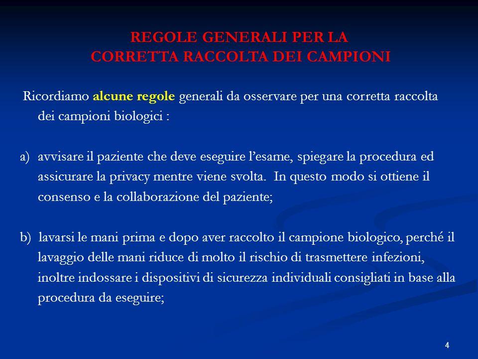 CORRETTA RACCOLTA DEI CAMPIONI