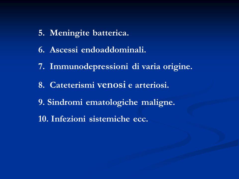 5. Meningite batterica. 6. Ascessi endoaddominali. 7. Immunodepressioni di varia origine. 8. Cateterismi venosi e arteriosi.