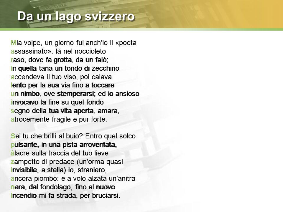 Da un lago svizzero Mia volpe, un giorno fui anch'io il «poeta
