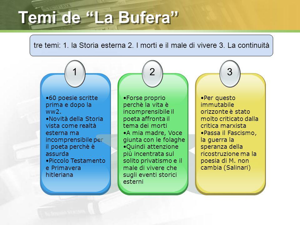 Temi de La Bufera tre temi: 1. la Storia esterna 2. I morti e il male di vivere 3. La continuità.