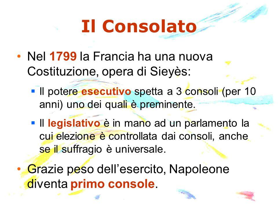 Il Consolato Nel 1799 la Francia ha una nuova Costituzione, opera di Sieyès: