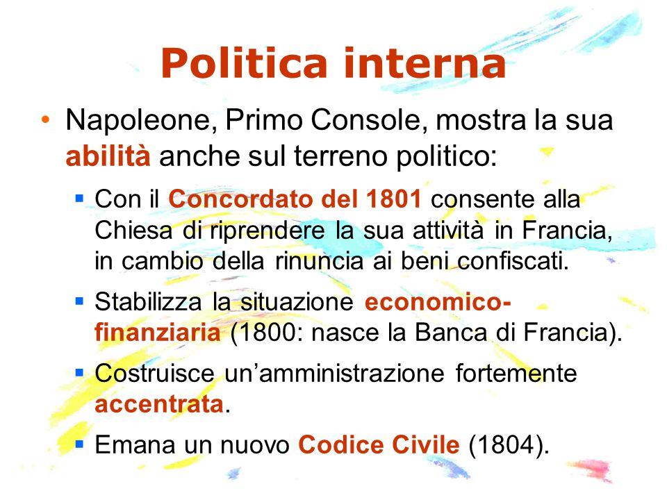Politica interna Napoleone, Primo Console, mostra la sua abilità anche sul terreno politico: