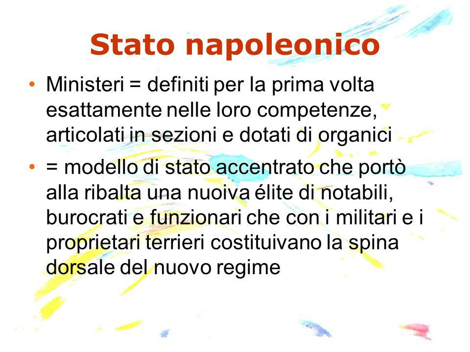 Stato napoleonico Ministeri = definiti per la prima volta esattamente nelle loro competenze, articolati in sezioni e dotati di organici.