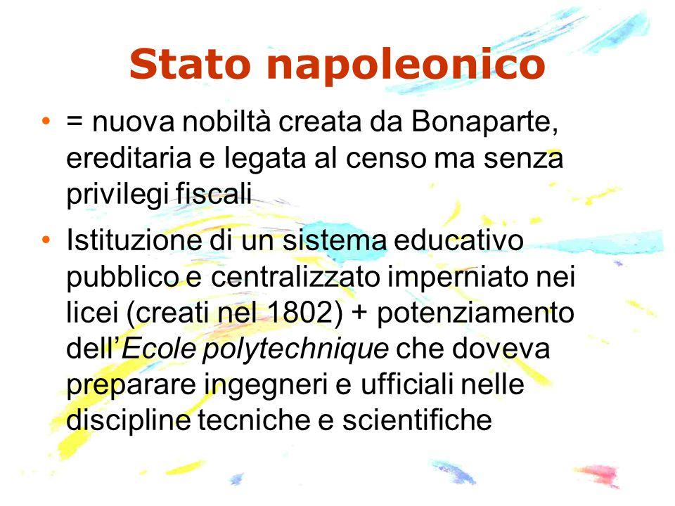 Stato napoleonico = nuova nobiltà creata da Bonaparte, ereditaria e legata al censo ma senza privilegi fiscali.