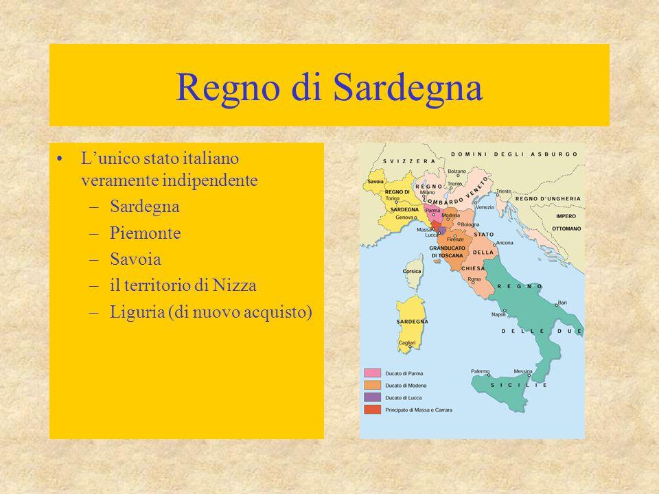 Regno di Sardegna L'unico stato italiano veramente indipendente