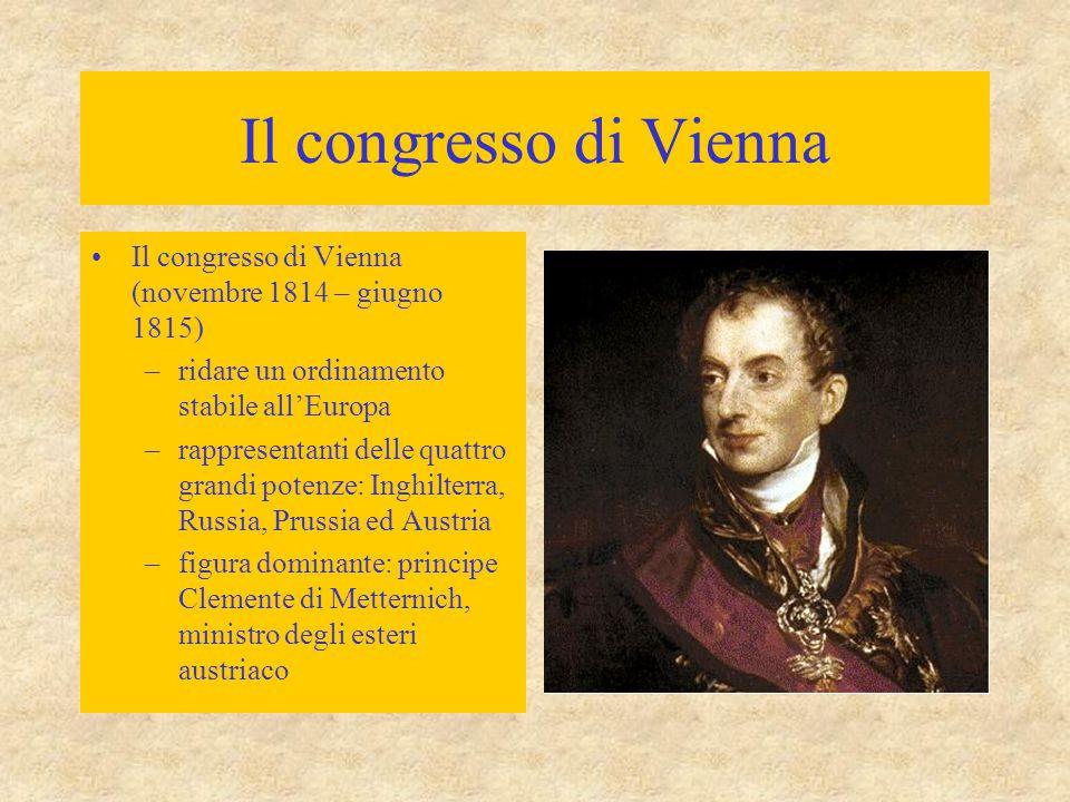 Il congresso di Vienna Il congresso di Vienna (novembre 1814 – giugno 1815) ridare un ordinamento stabile all'Europa.