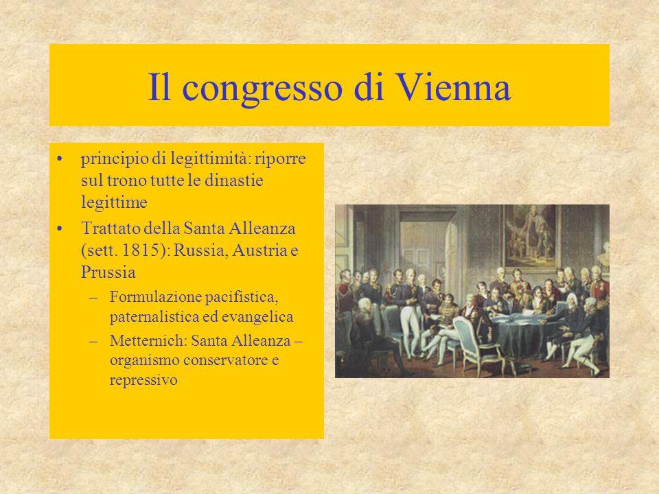 Il congresso di Vienna principio di legittimità: riporre sul trono tutte le dinastie legittime.
