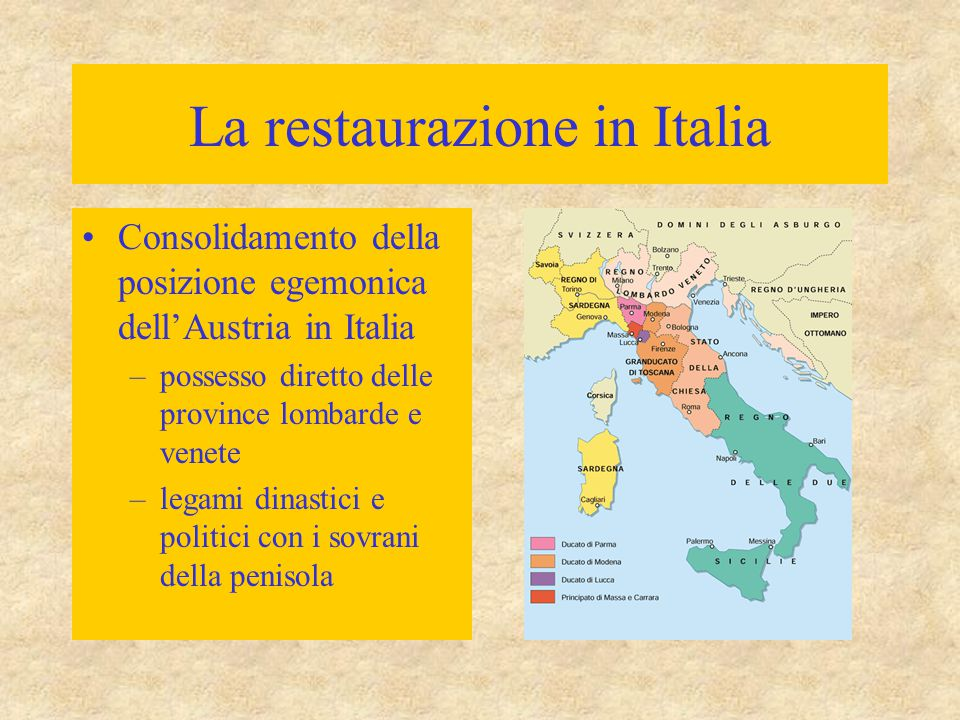 La restaurazione in Italia