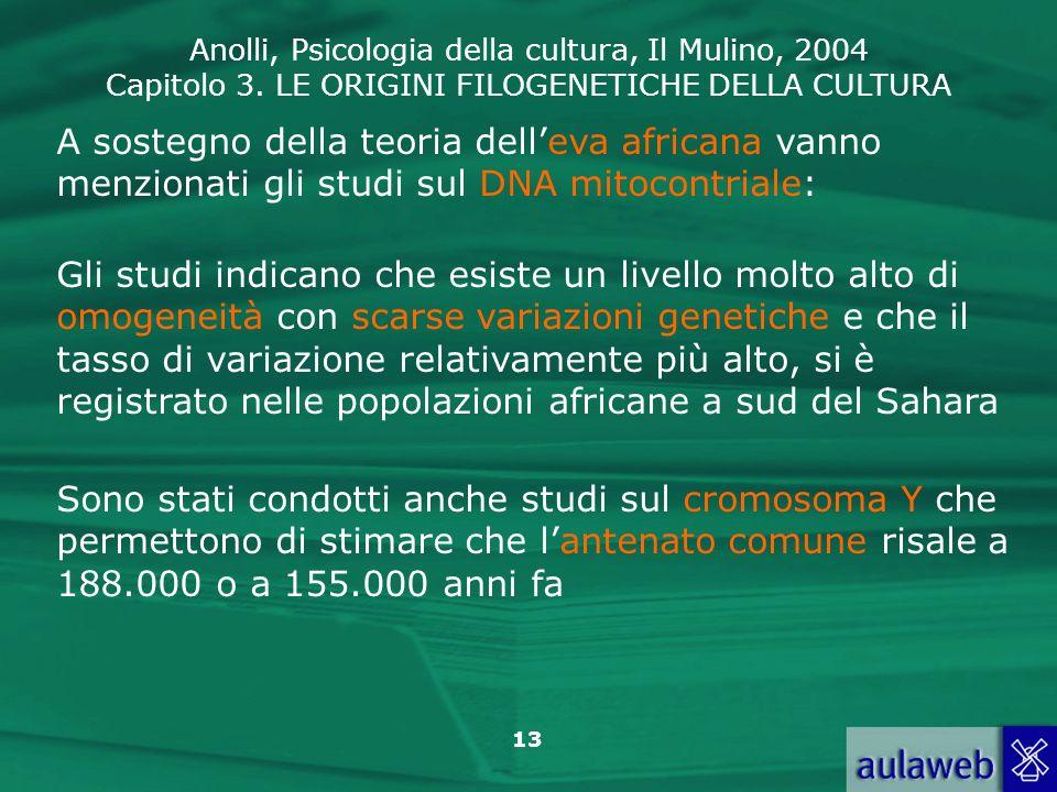 A sostegno della teoria dell'eva africana vanno menzionati gli studi sul DNA mitocontriale: