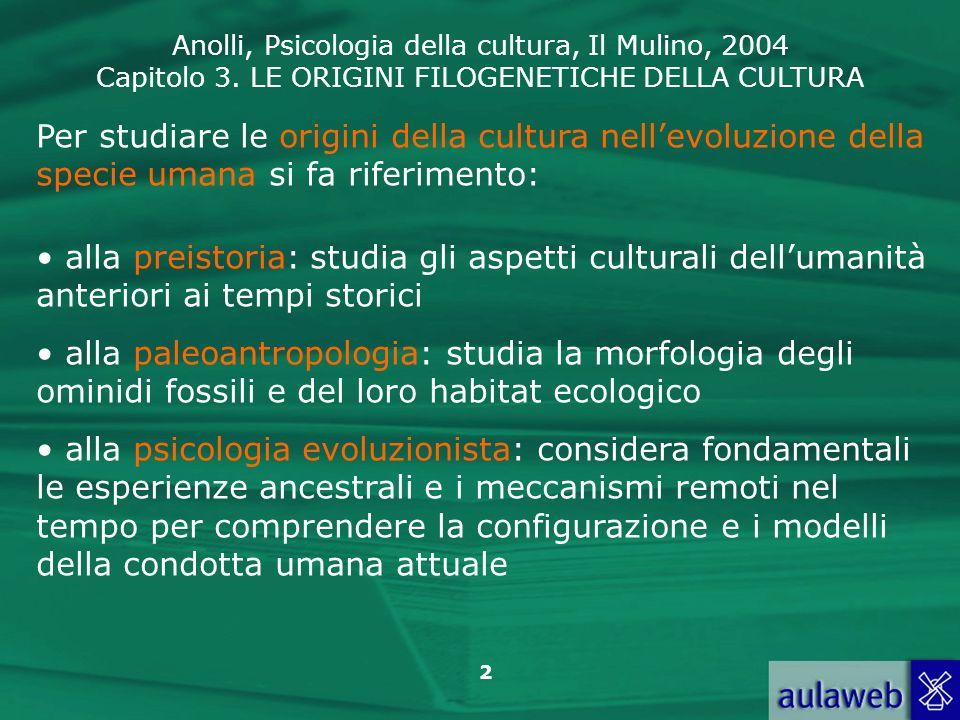 Per studiare le origini della cultura nell'evoluzione della specie umana si fa riferimento: