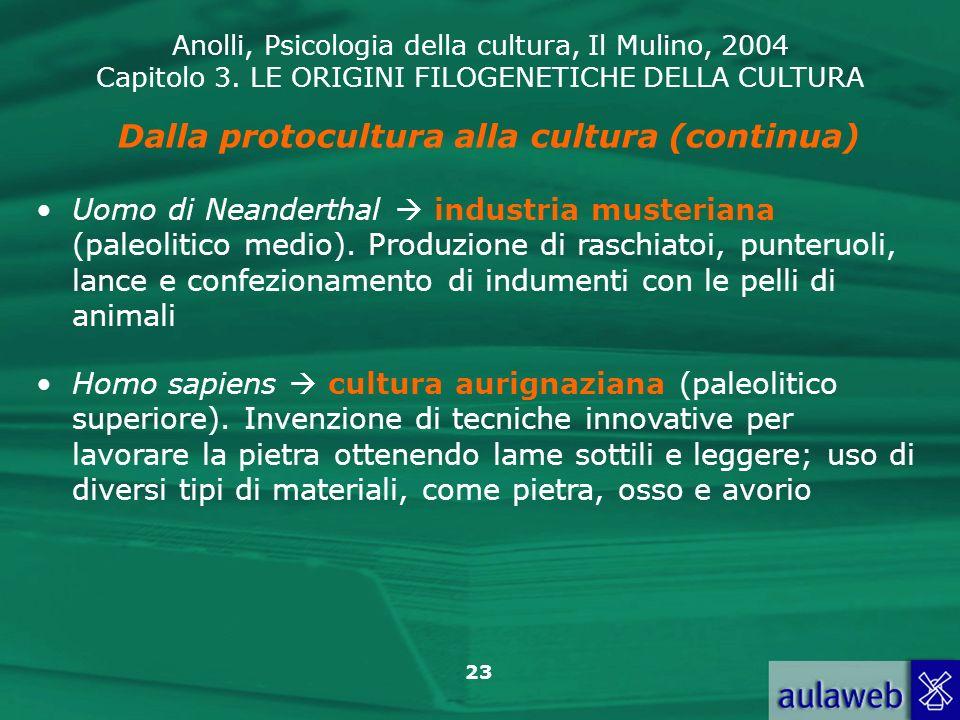 Dalla protocultura alla cultura (continua)