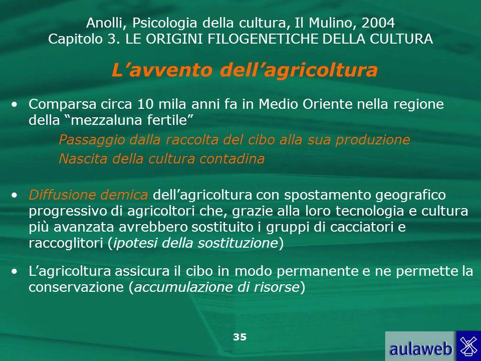 L'avvento dell'agricoltura