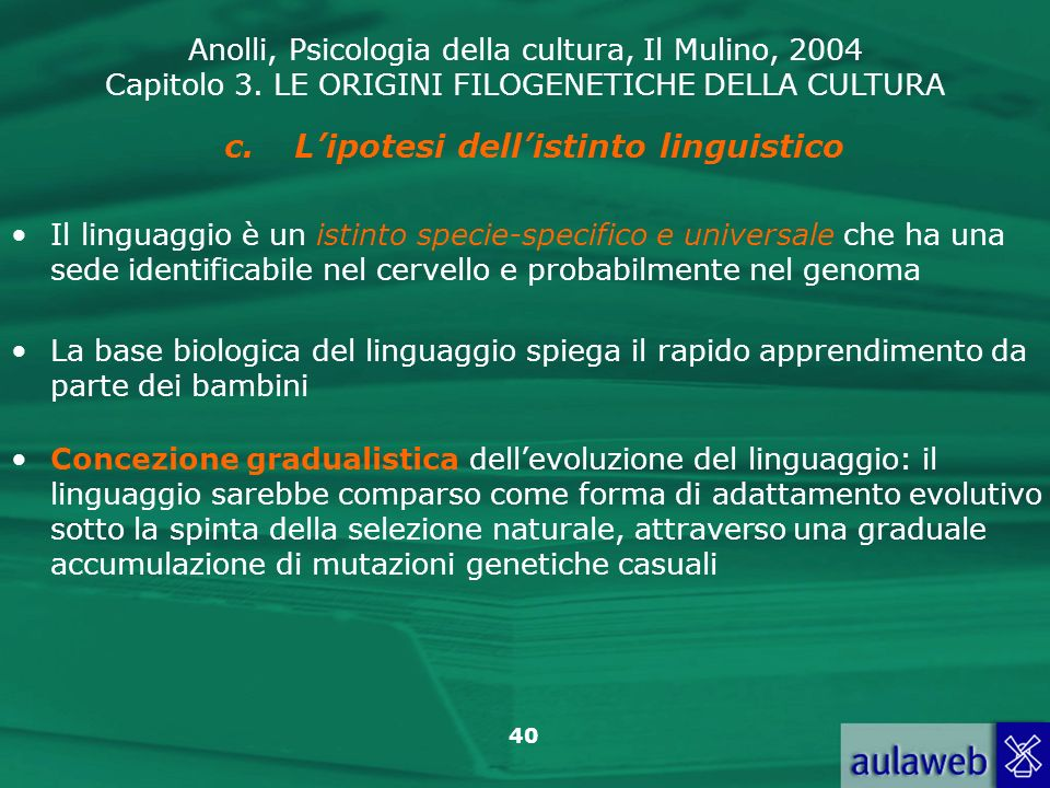 L'ipotesi dell'istinto linguistico