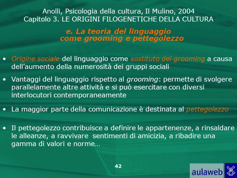La teoria del linguaggio come grooming e pettegolezzo