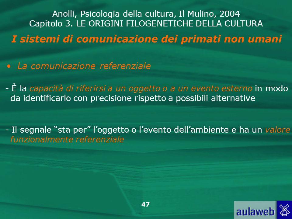 I sistemi di comunicazione dei primati non umani