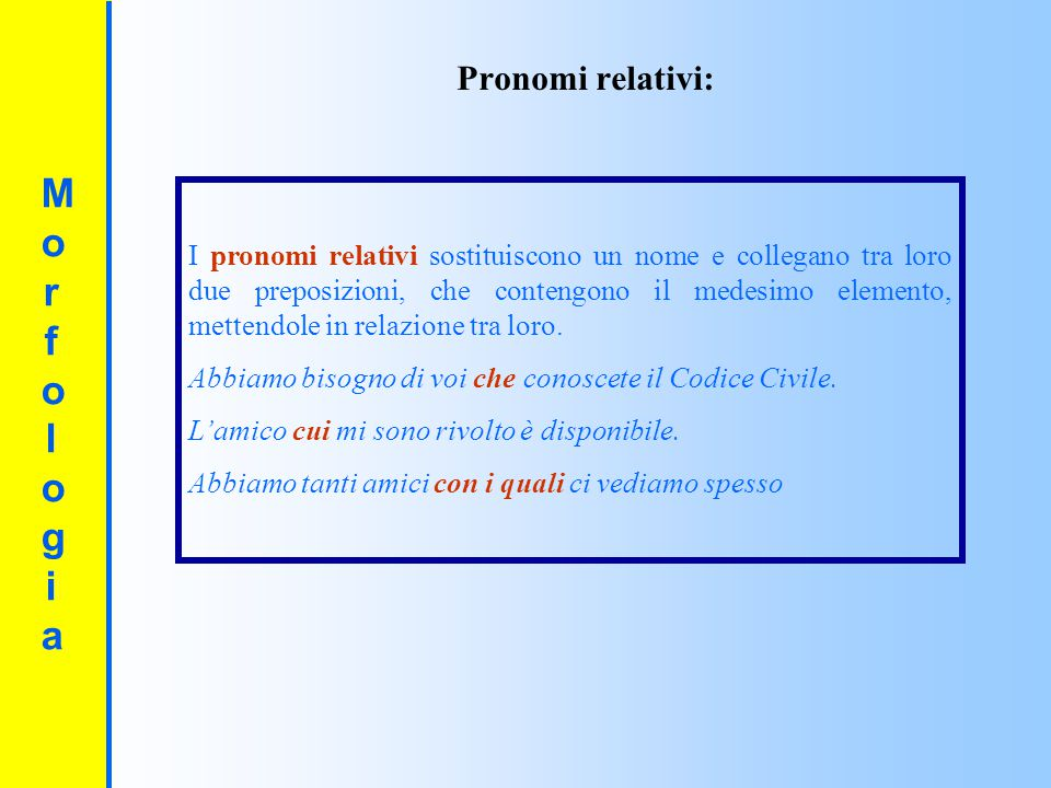 Morfologia Pronomi relativi: