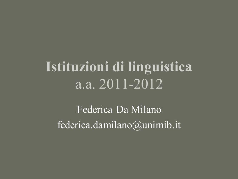 Istituzioni di linguistica a.a. 2011-2012