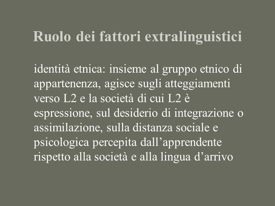 Ruolo dei fattori extralinguistici
