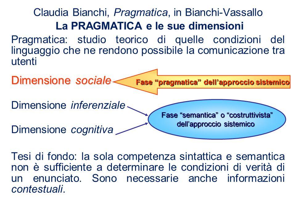 Fase pragmatica dell'approccio sistemico