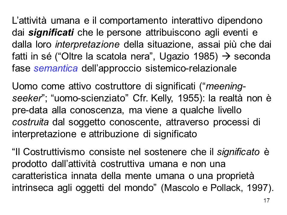 L'attività umana e il comportamento interattivo dipendono dai significati che le persone attribuiscono agli eventi e dalla loro interpretazione della situazione, assai più che dai fatti in sé ( Oltre la scatola nera , Ugazio 1985)  seconda fase semantica dell'approccio sistemico-relazionale