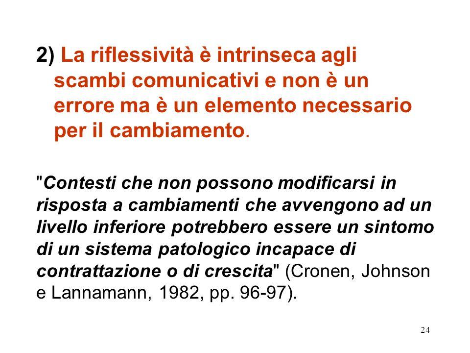 2) La riflessività è intrinseca agli scambi comunicativi e non è un errore ma è un elemento necessario per il cambiamento.