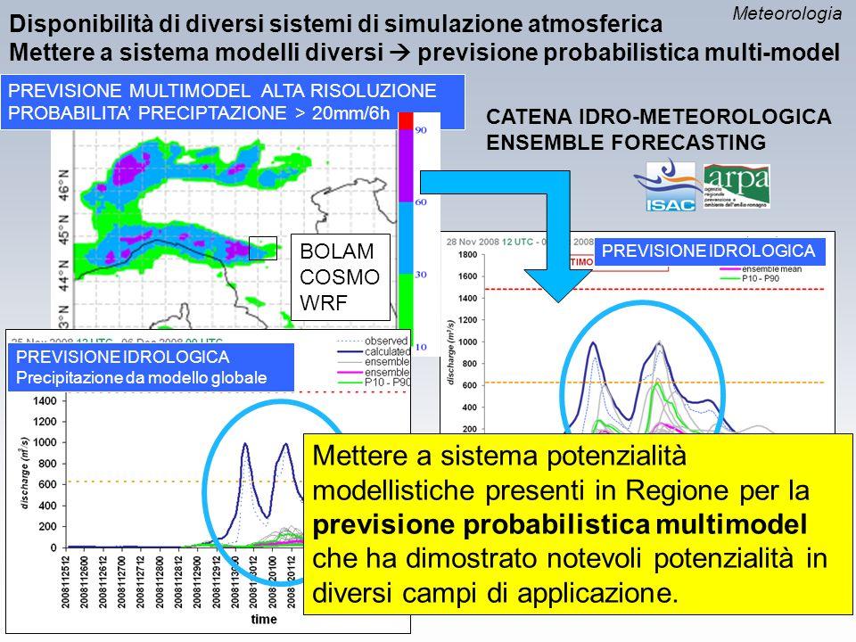 Meteorologia Disponibilità di diversi sistemi di simulazione atmosferica. Mettere a sistema modelli diversi  previsione probabilistica multi-model.