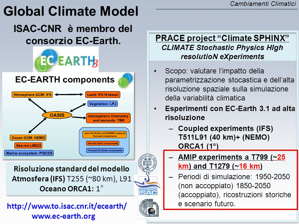 Global Climate Model ISAC-CNR è membro del consorzio EC-Earth.