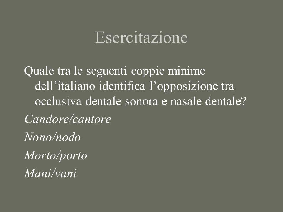 Esercitazione Quale tra le seguenti coppie minime dell'italiano identifica l'opposizione tra occlusiva dentale sonora e nasale dentale