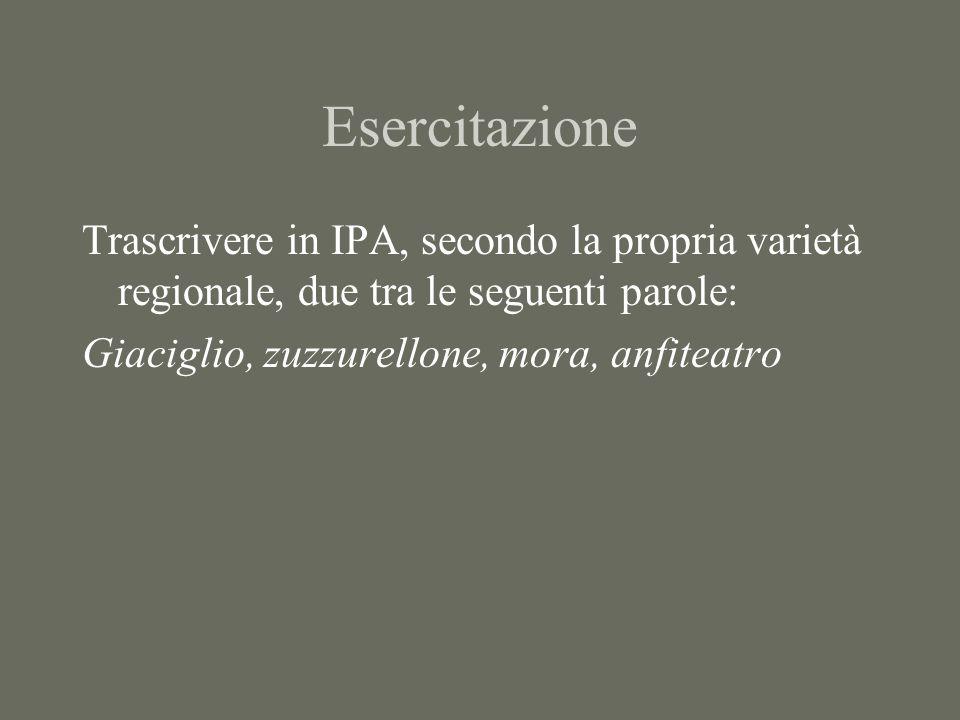 EsercitazioneTrascrivere in IPA, secondo la propria varietà regionale, due tra le seguenti parole: Giaciglio, zuzzurellone, mora, anfiteatro.