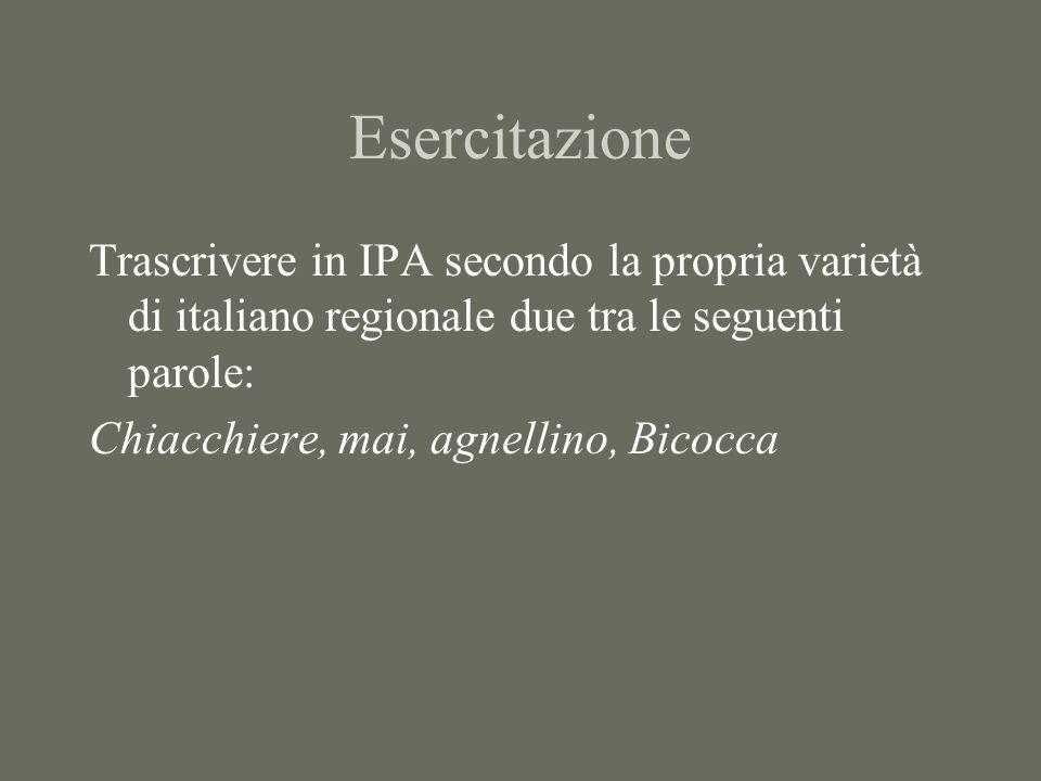 EsercitazioneTrascrivere in IPA secondo la propria varietà di italiano regionale due tra le seguenti parole: