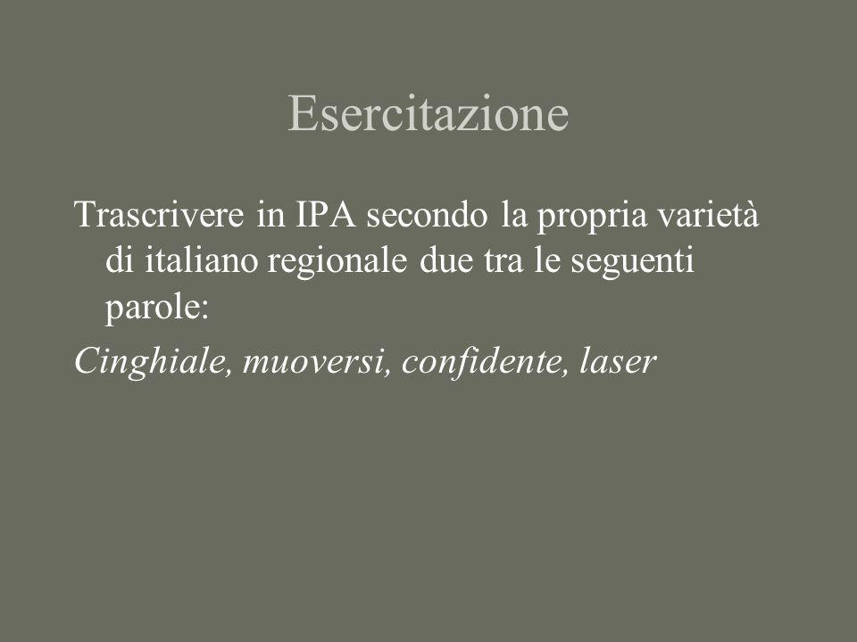 Esercitazione Trascrivere in IPA secondo la propria varietà di italiano regionale due tra le seguenti parole:
