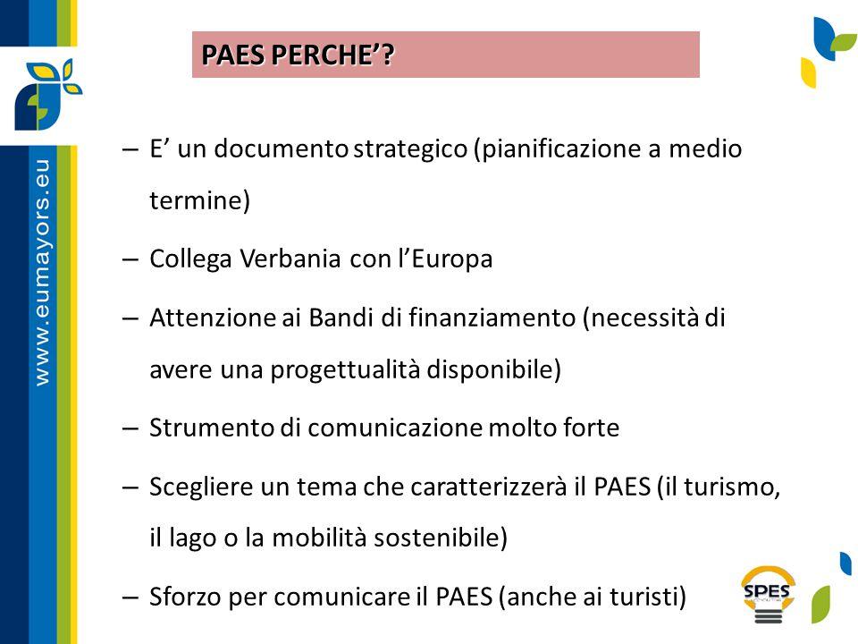 PAES PERCHE' E' un documento strategico (pianificazione a medio termine) Collega Verbania con l'Europa.