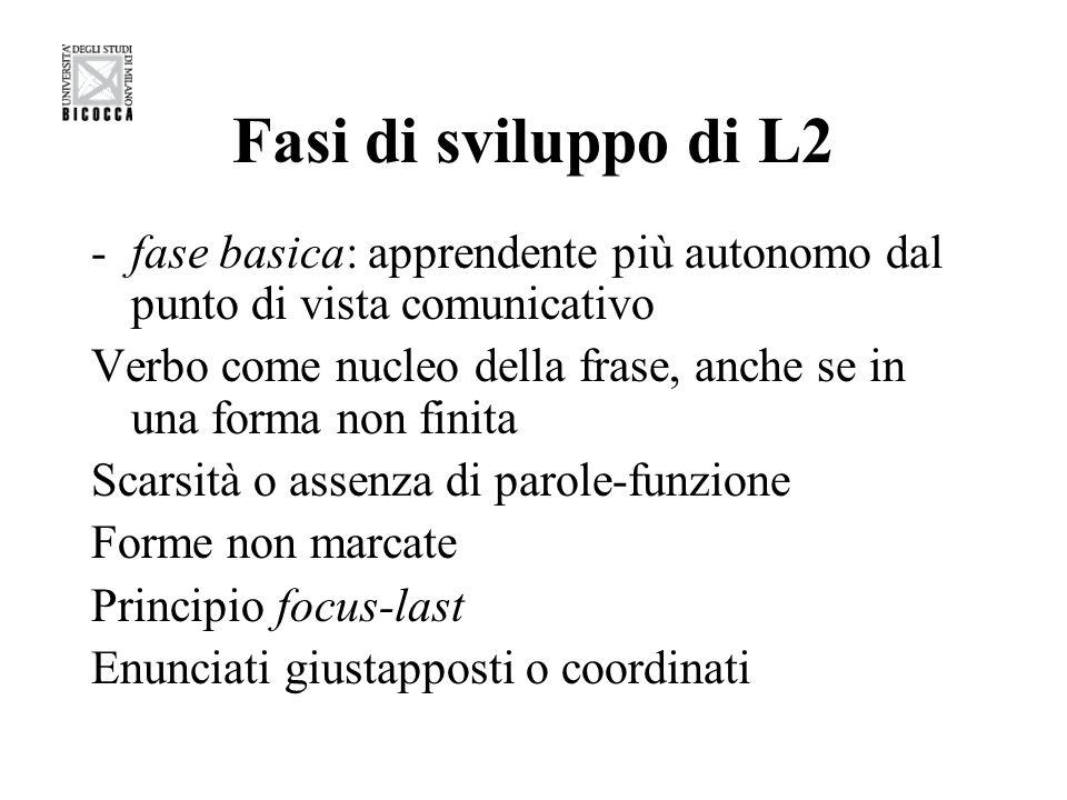 Fasi di sviluppo di L2 fase basica: apprendente più autonomo dal punto di vista comunicativo.