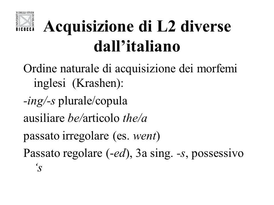 Acquisizione di L2 diverse dall'italiano
