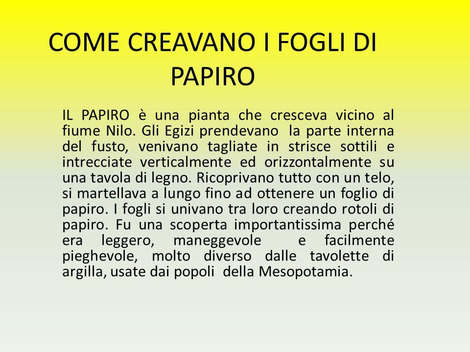 COME CREAVANO I FOGLI DI PAPIRO