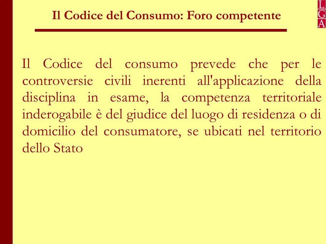 Il Codice del Consumo: Foro competente