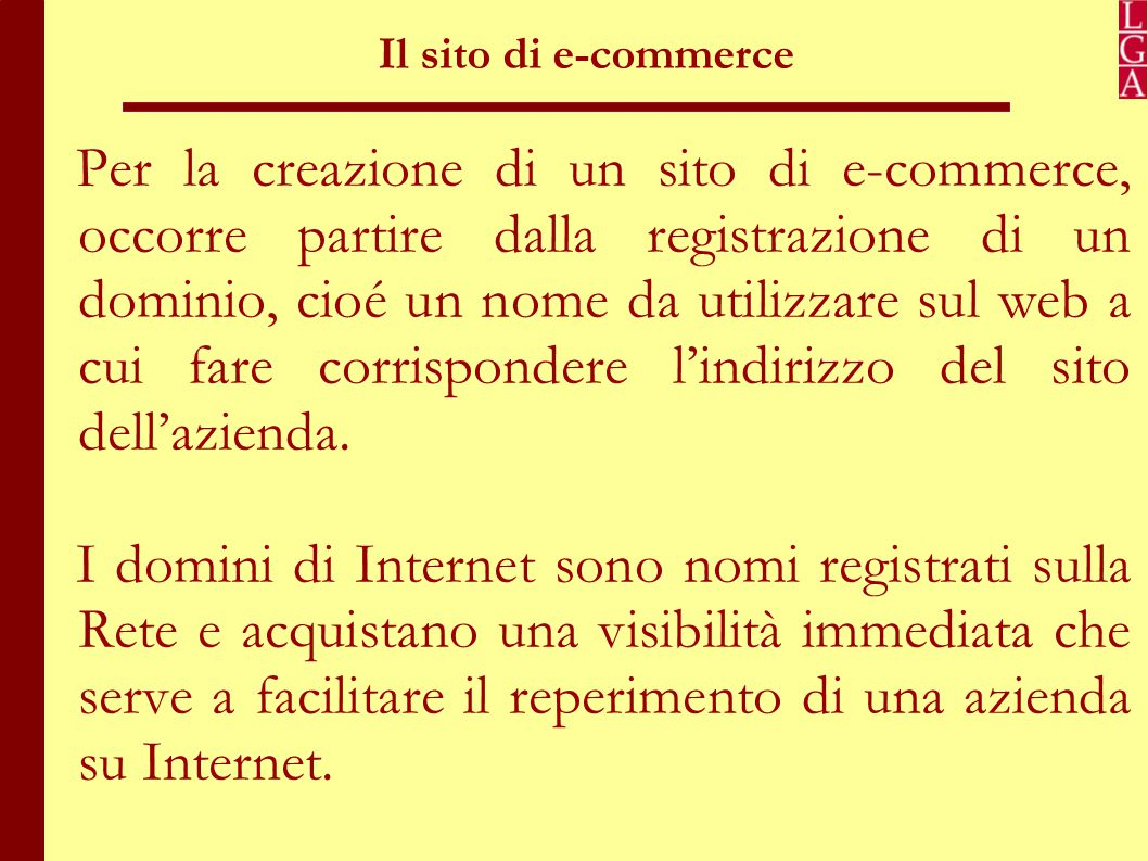 Il sito di e-commerce