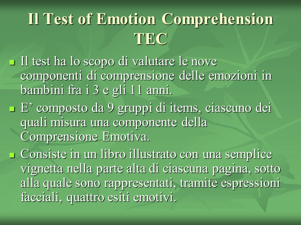 Il Test of Emotion Comprehension TEC
