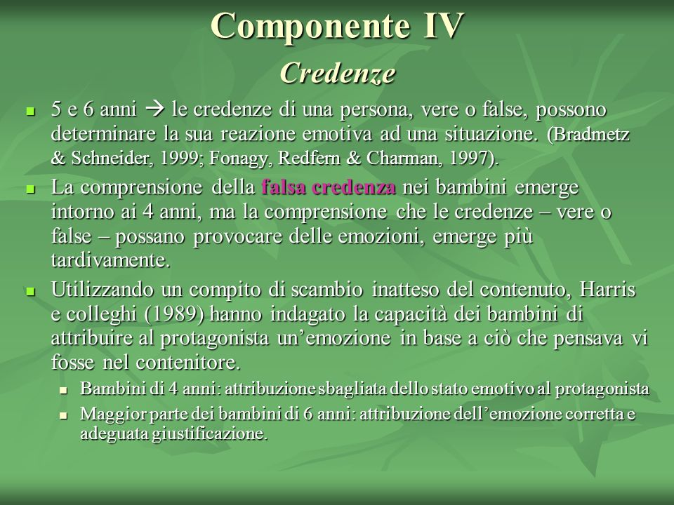 Componente IV Credenze
