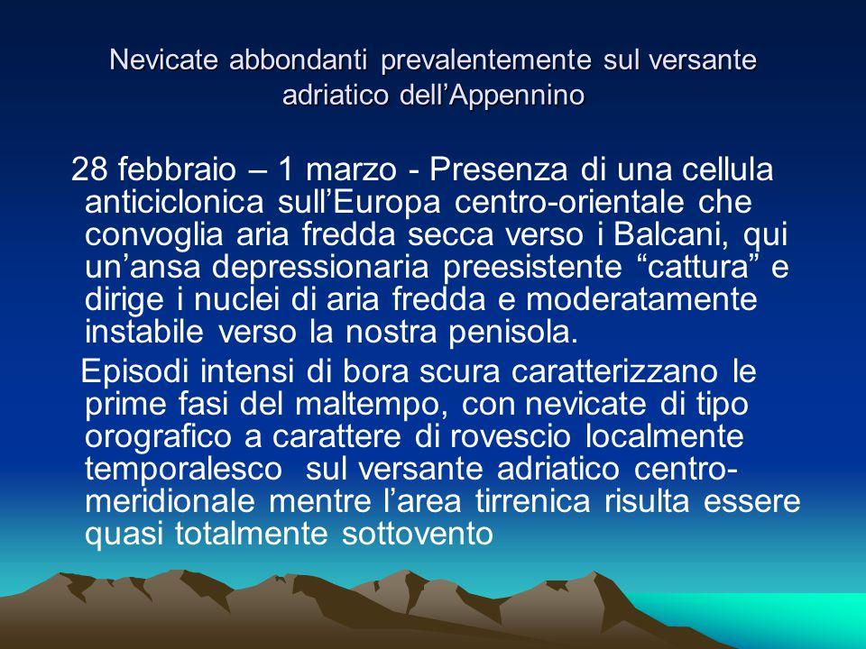 Nevicate abbondanti prevalentemente sul versante adriatico dell'Appennino