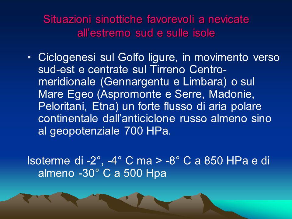 Situazioni sinottiche favorevoli a nevicate all'estremo sud e sulle isole