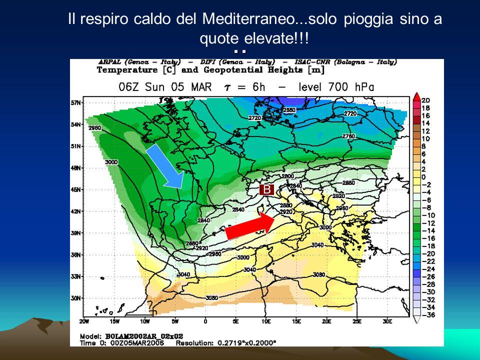 Il respiro caldo del Mediterraneo...solo pioggia sino a quote elevate!!!