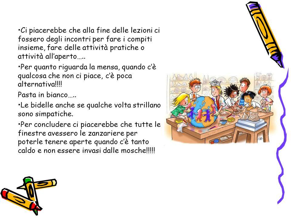 Ci piacerebbe che alla fine delle lezioni ci fossero degli incontri per fare i compiti insieme, fare delle attività pratiche o attività all'aperto…..